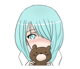 Cute girl and a teddy bear sticker #8927980