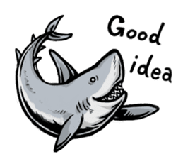 Fascinating shark (English) sticker #8935329