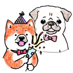 SHIBAINU&PUG greeting sticker