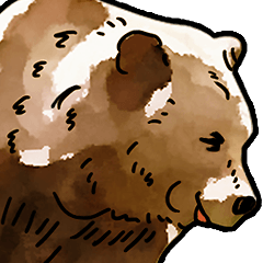 Watercolor bear sticker