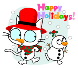 Communication of the cat / Christmas sticker #9045940