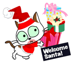Communication of the cat / Christmas sticker #9045943