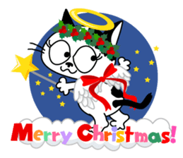 Communication of the cat / Christmas sticker #9045950