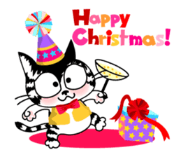Communication of the cat / Christmas sticker #9045958