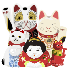 japaneas lucky mascot collection