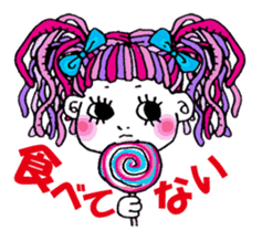 Colorful girl with happy friends Part2 sticker #9205082