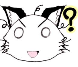 White cat comics style sticker #9220809