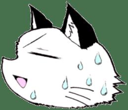 White cat comics style sticker #9220823