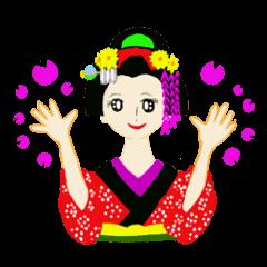 Colorful kimono beauty