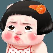 สติ๊กเกอร์ไลน์ ส้มจี๊ด คิ้วเกิร์ล