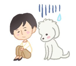 Toy Poodle and girl sticker #9385747
