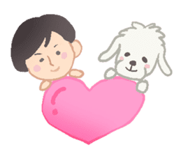 Toy Poodle and girl sticker #9385752