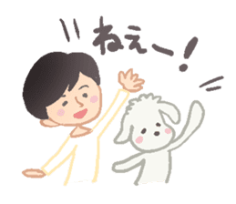 Toy Poodle and girl sticker #9385753