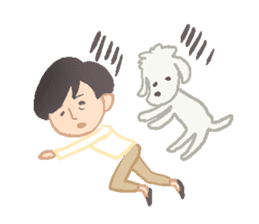 Toy Poodle and girl sticker #9385756