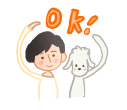 Toy Poodle and girl sticker #9385758