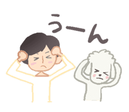 Toy Poodle and girl sticker #9385765