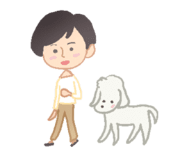 Toy Poodle and girl sticker #9385770