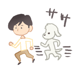 Toy Poodle and girl sticker #9385772