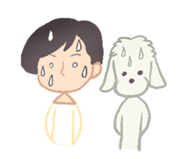 Toy Poodle and girl sticker #9385773