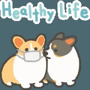 สติ๊กเกอร์ไลน์ 1corgi Healthy life sticker