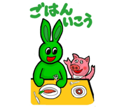 Midori usagi and his friends sticker #9453757