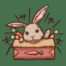Cute warm fuzzy rabbit sticker #9477856
