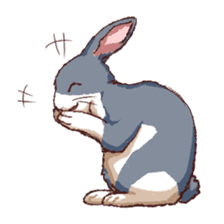 Cute warm fuzzy rabbit sticker #9477873