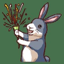 Cute warm fuzzy rabbit sticker #9477875