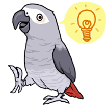 Fuku the Grey Parrot sticker #9542616
