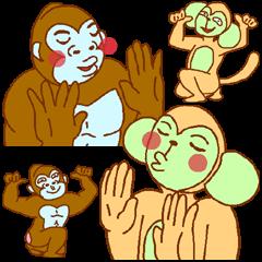 Gorilla blue man and monkey green man