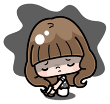 Cute girl with long hair (Chinese) sticker #9596742