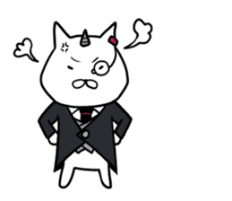Cat devil and scary Butler Sticker. sticker #9646310