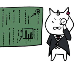 Cat devil and scary Butler Sticker. sticker #9646315