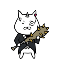 Cat devil and scary Butler Sticker. sticker #9646323