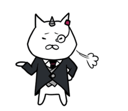 Cat devil and scary Butler Sticker. sticker #9646325
