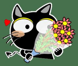 Black cat Happy 3rd sticker #9784258