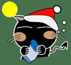 Black cat Happy 3rd sticker #9784265