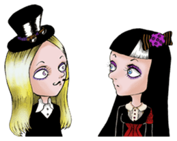 Goth and Steampunk girls sticker #9786255