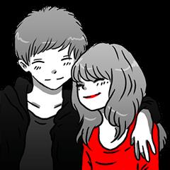 Manga couple in love