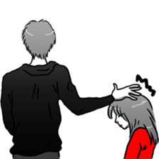 Manga couple in love sticker #9853617