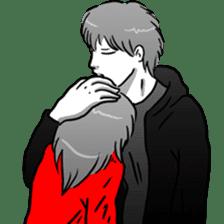 Manga couple in love sticker #9853618