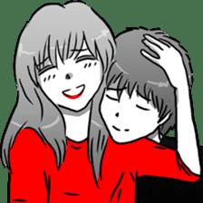 Manga couple in love sticker #9853619