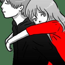 Manga couple in love sticker #9853624