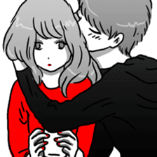 Manga couple in love sticker #9853631