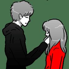Manga couple in love sticker #9853632