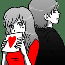 Manga couple in love sticker #9853634