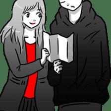 Manga couple in love sticker #9853636