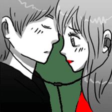 Manga couple in love sticker #9853640