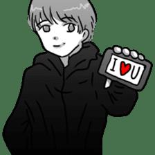 Manga couple in love sticker #9853643