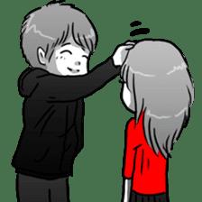 Manga couple in love sticker #9853646